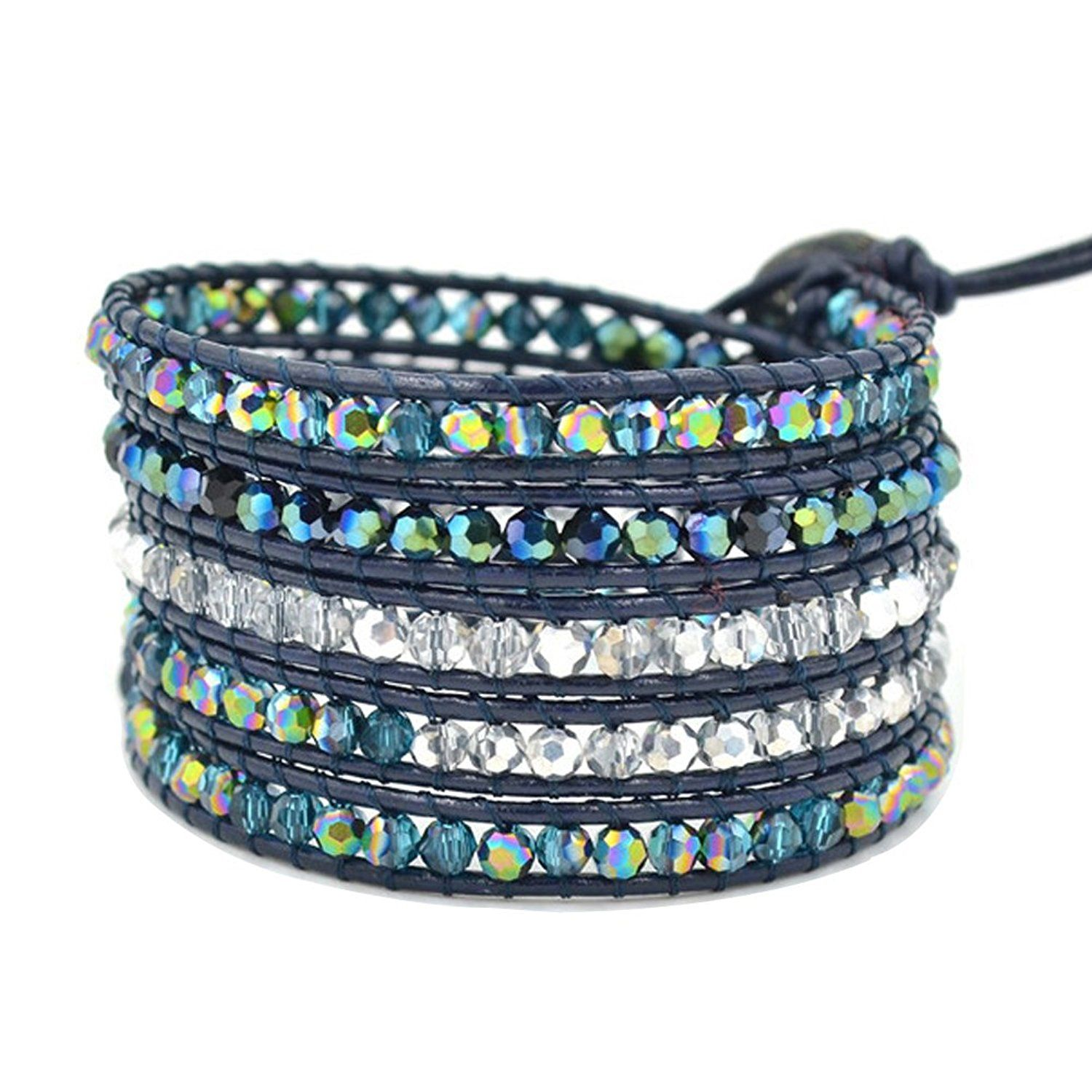 Here fashion colorful faceted cut agate on wrap leather bracelets