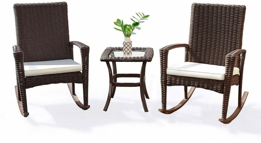 Patio Bistro Rattan Set Rocking Chairs