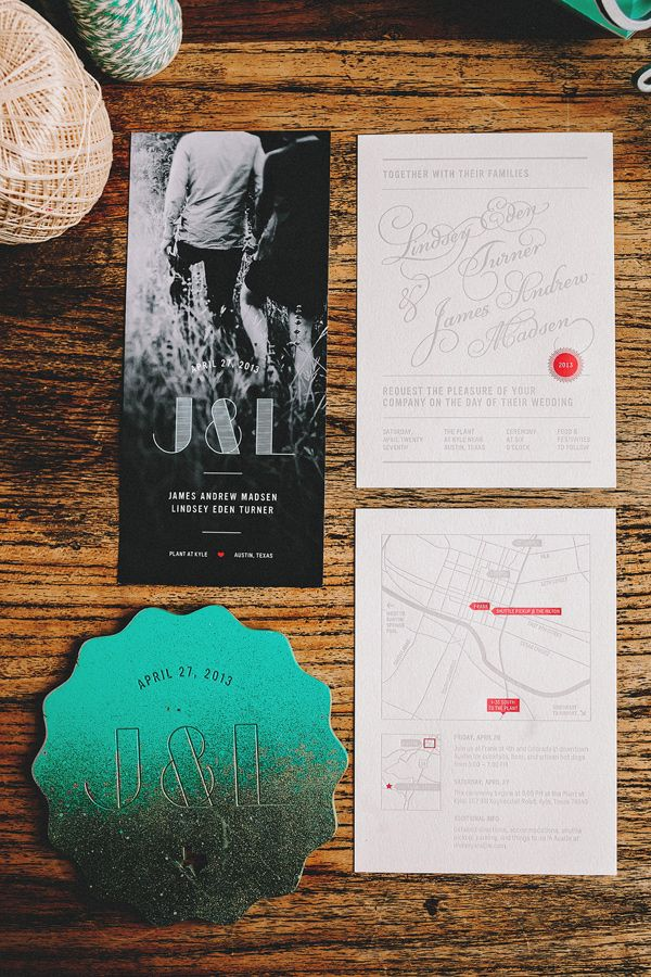 modern invitations, photo by Two Pair Photography http://ruffledblog.com/the-plant-at-kyle-wedding #weddinginvitations #invites #stationery