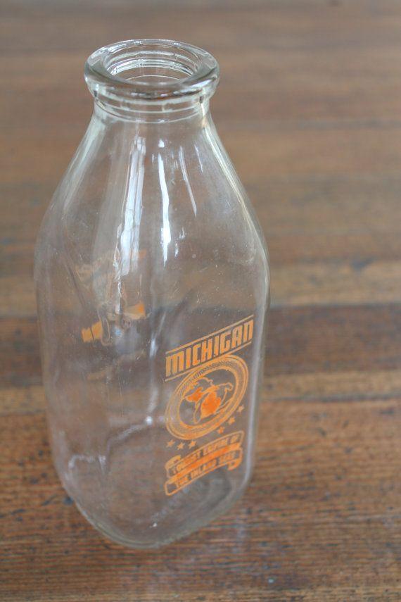 Vintage Glass Milk Bottle Producer S Creamery Benton Harbor