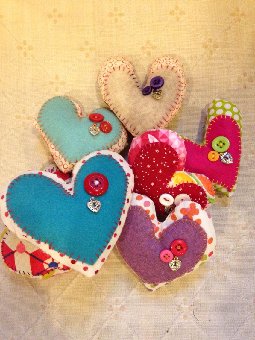 Hand sewn felt pocket hearts for Valentine's Day