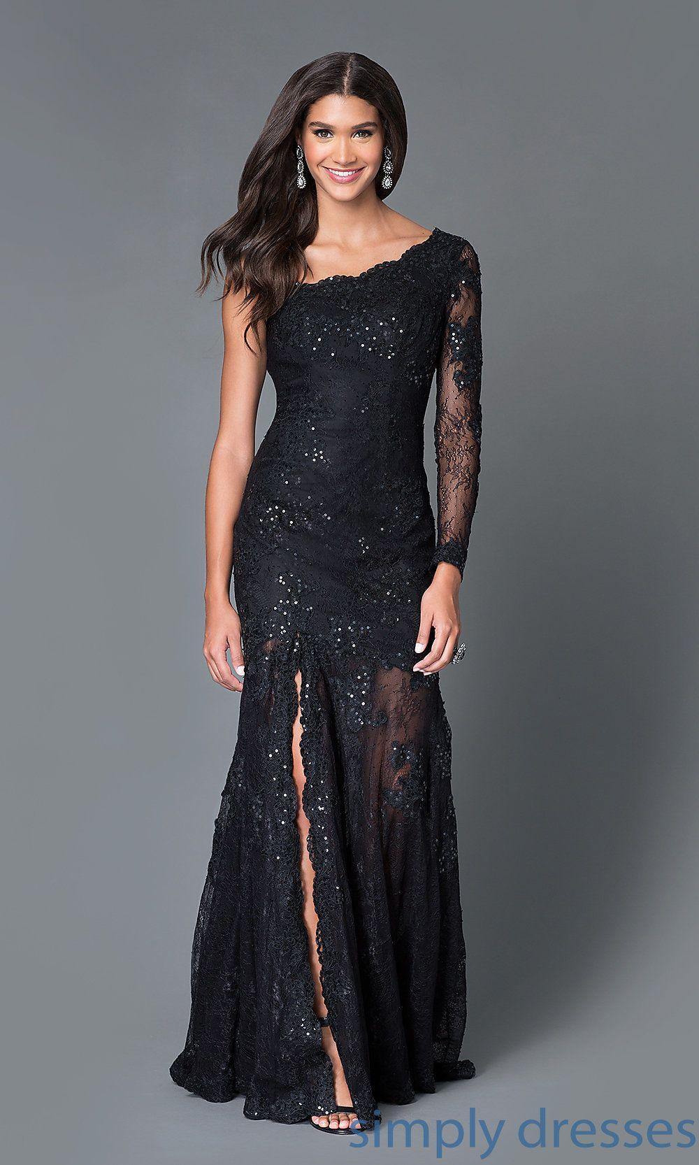 Floor Length Asymmetric Long Sleeve Black Gown Black Lace Dress Long Long Sleeve Black Gown Prom Dresses Long