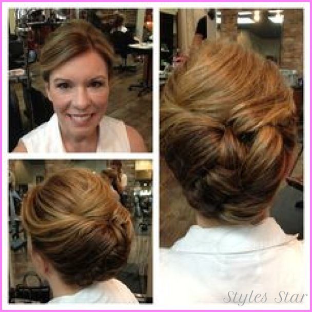 Updo Mother Of The Bride Wedding Hair This Was A Great Option For Her Thick Tucks Rolls Hold While Also Showing Off Highlights