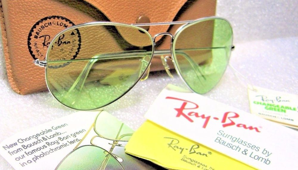cf4f83be17 RAY-BAN NOS VINTAGE B L AVIATOR Green Changeables RB-3 White Gold NEW  SUNGLASSES  RayBanbyBauschLombUSA  AviatorClassicMetalsIIAristaL2849WG