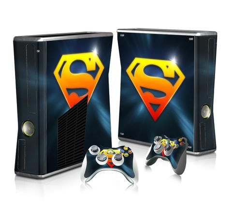 Superman logo sticker skin for xbox 360 slim decal design