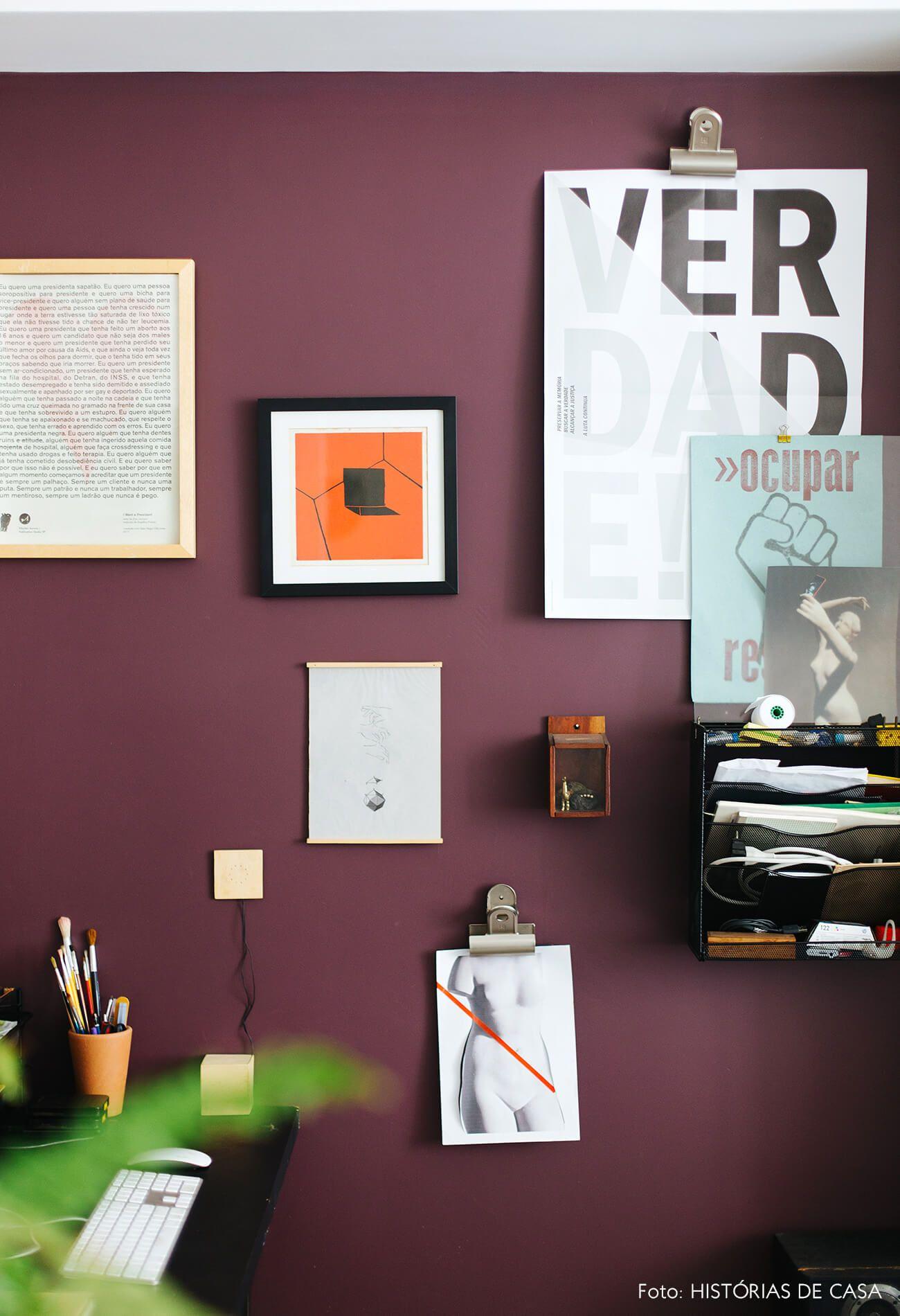 Parede Colorida Com Home Office E Quadros Wall Colour Colors