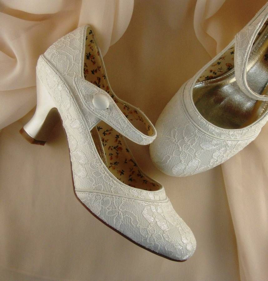 Pretty Ivory Lace Wedding Shoes Decorated With Soft Floral Lace