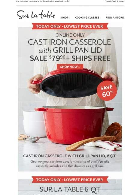 1 Day Sale 4 Cookware Favorites Up To 68 Off Offer Sale Popular Sites Cooking Classes 1 Day Sale