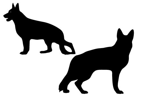 two large sized german shepard dogs in silhouette vector format
