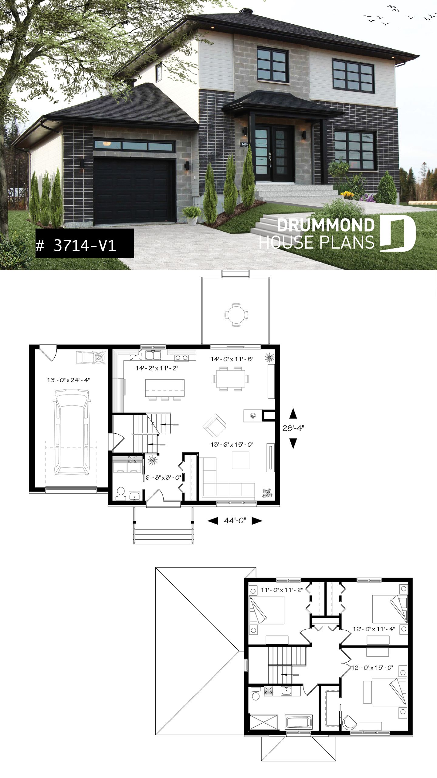 Two-story contemporary home plan with garage, open dining ...