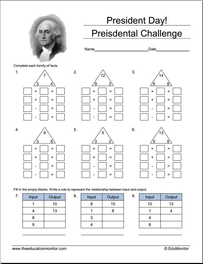 Presidents Day Math Worksheets And Activities. Inspire your kids to ...