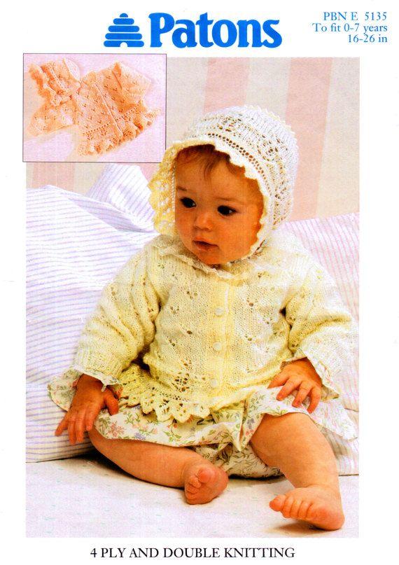 67dbae38b PDF Baby Pram Set Knitting Pattern Frilly Lace Cardigan