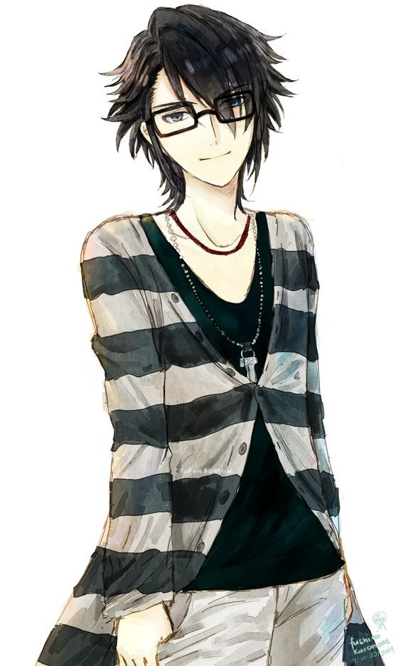 Anime Guy Male Boy Black Hair Glasses Stripes K Project Anime Anime Guys K Project