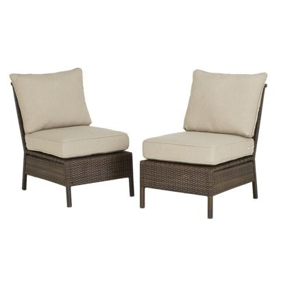 threshold rolston 2 piece wicker patio sectional armless chair set