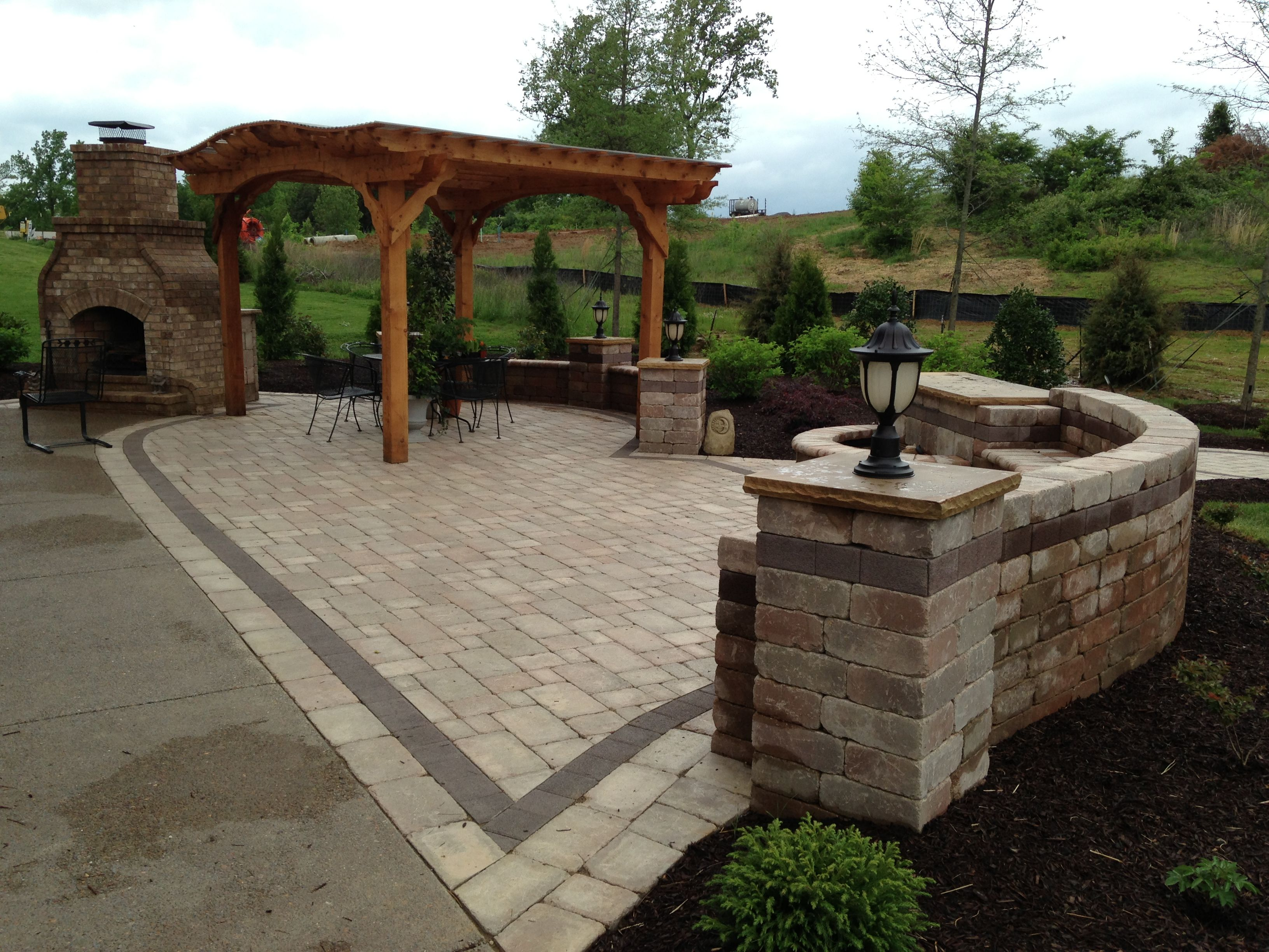 paver patio with pergola. Paver Patio With Fireplace, Pergola, Fountain, \u0026 Seat Couch Pergola