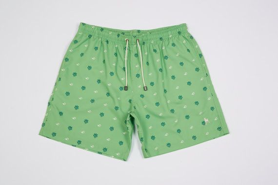 Podenco Eivissa Lime Green Paisley Ganesh print swim shorts To Buy: https://www.etsy.com/listing/213786104/lime-green-paisley-ganesh-mens-swimwear?ref=shop_home_active_10