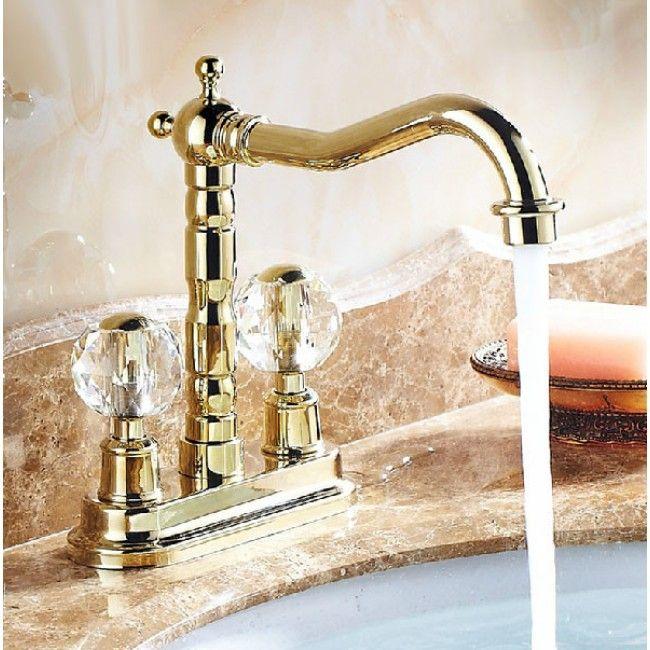 Crystal Dual Handle Long Neck Deck Mount Bathroom & Kitchen Faucet ...