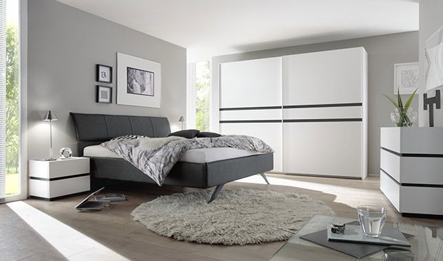 Chambre adulte design ARCORA blanc mat et gris foncé: http://www ...