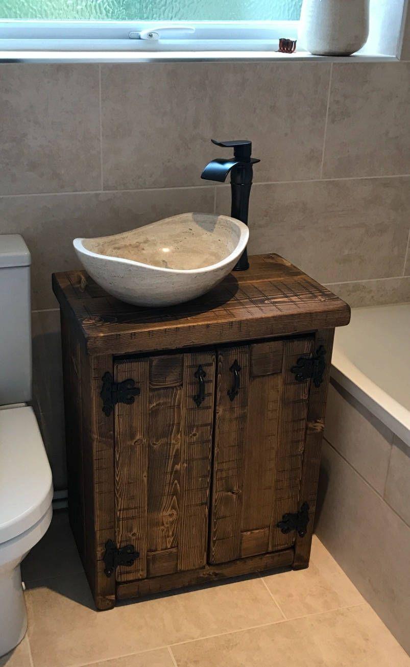 New Solid Chunky Wood Rustic Bathroom Sink Basin Vanity Unit Wash
