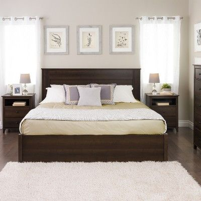Prepac king flat panel headboard espresso brown in 2019 - Espresso brown bedroom furniture ...