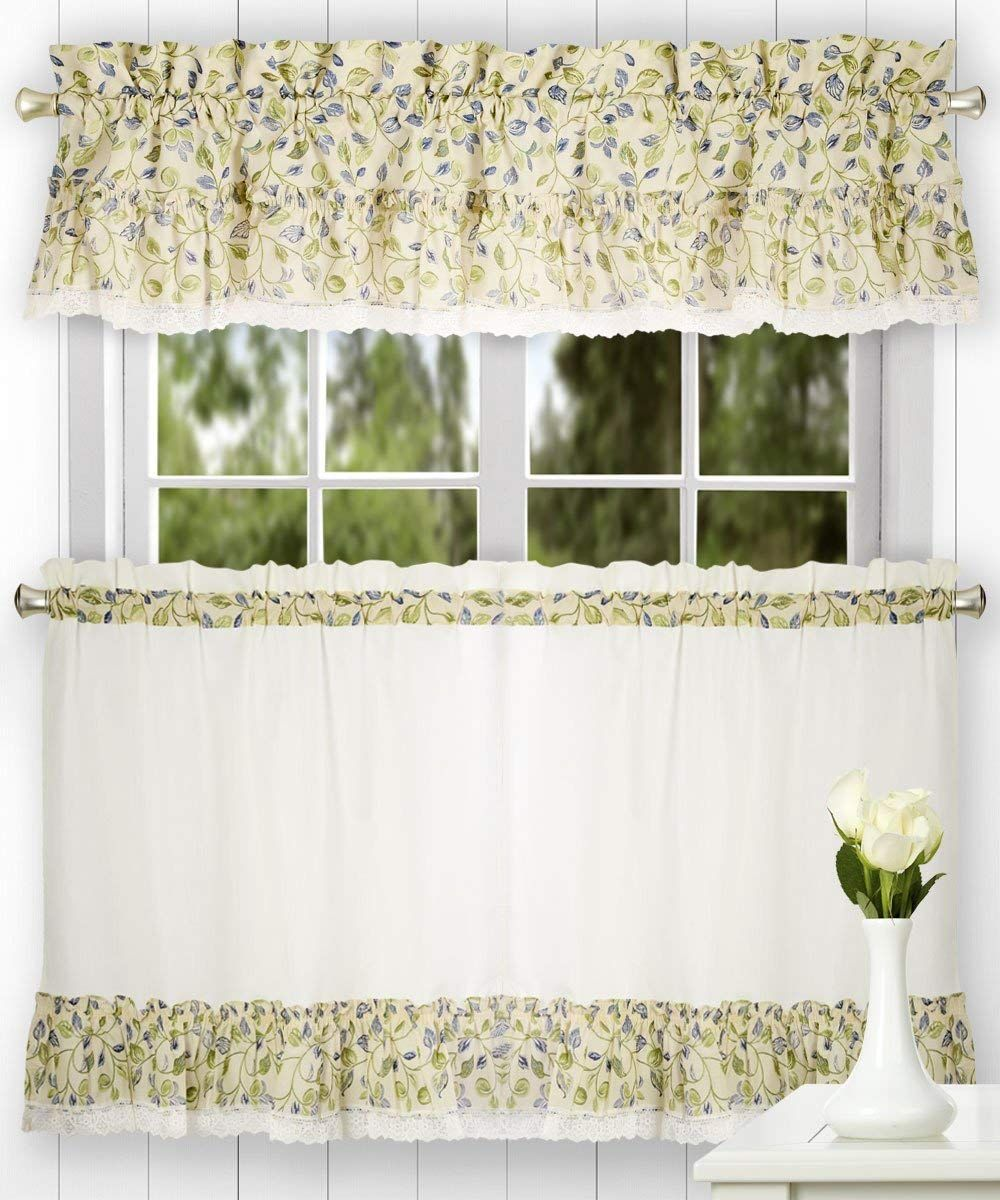 Ellis Curtain Clarice 52 By 12 Inch Ruffled Valance Blue