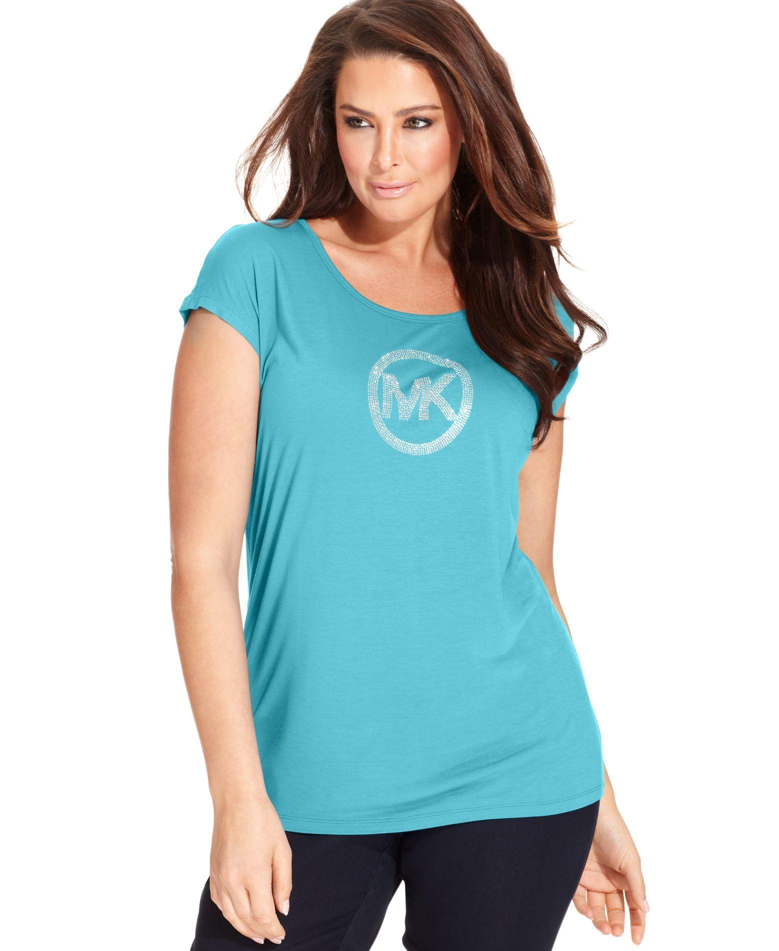 f5cde47a5c Michael Michael Kors Plus Size Short-Sleeve Mk-Logo Tee