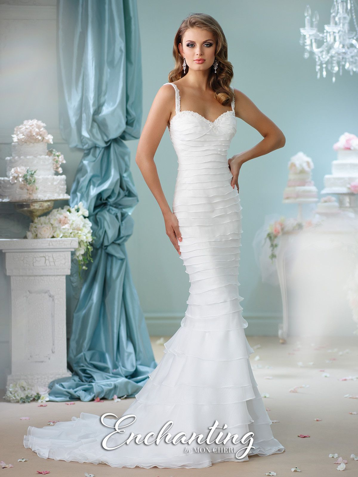 Enchanting - Sleeveless tiered soft organza mermaid gown with hand ...