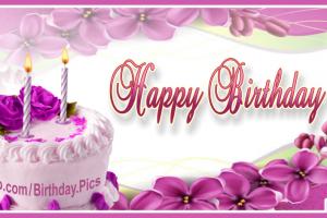 Violet Flowers White Cake Happy Birthday Card Happy Birthday