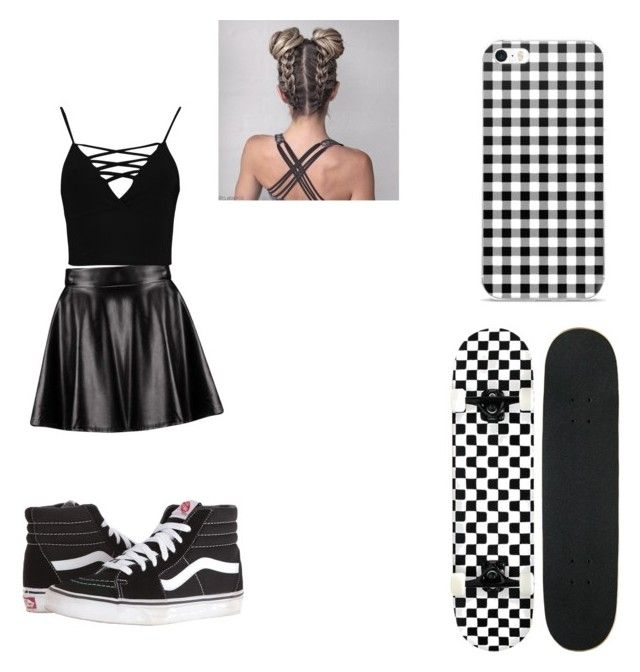 """""""Skateboard 🖤🛴"""" by jasmine12-mcneal on Polyvore featuring Boohoo and Vans"""