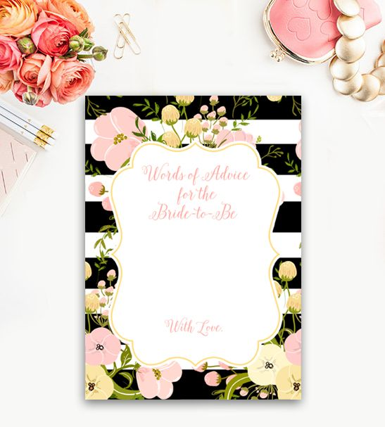 Bridal Shower Activity  Words of Advice for the Bride Black White Peach Flowers      Instant Download Printable