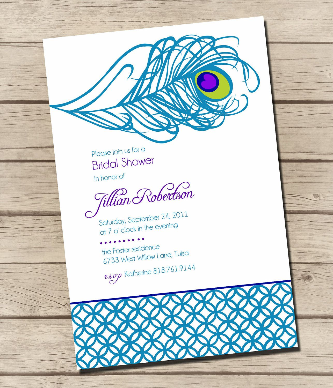 printable swanky peacock bridal shower invitations digital 1200 via etsy