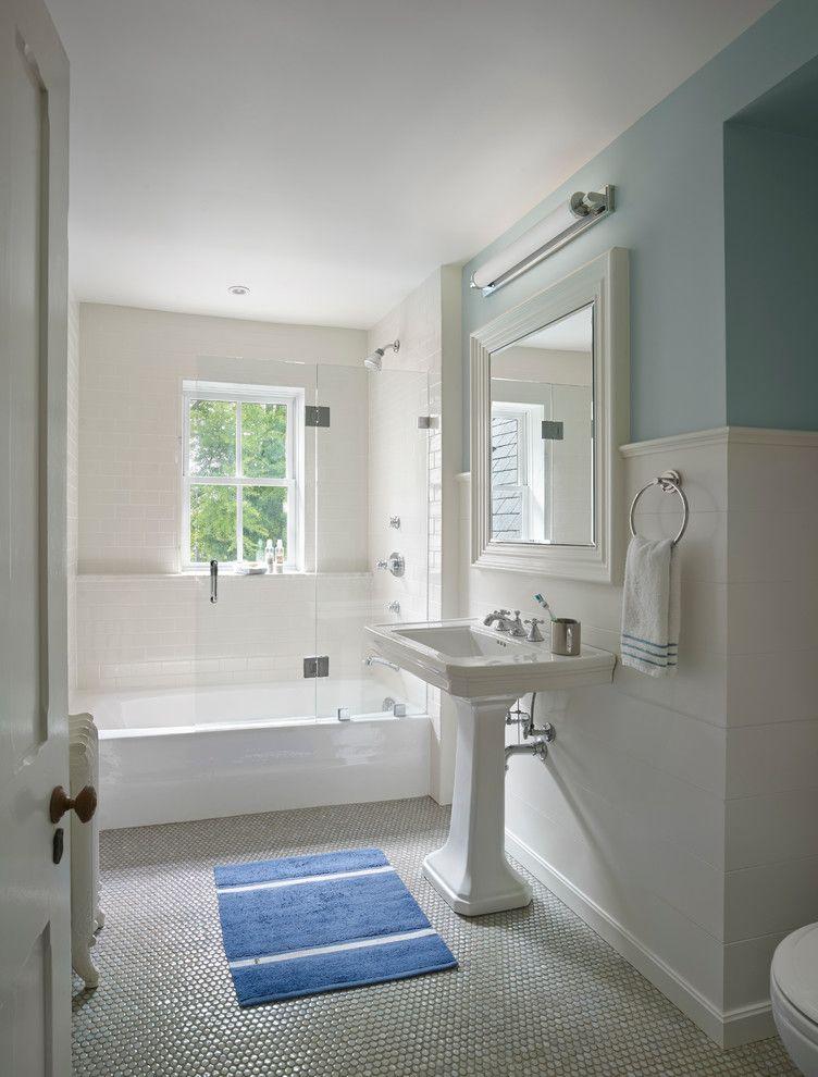nemo tile traditional bathroom decorators frameless glass shower enclosure kohler memoirs pedestal sink penny rounds