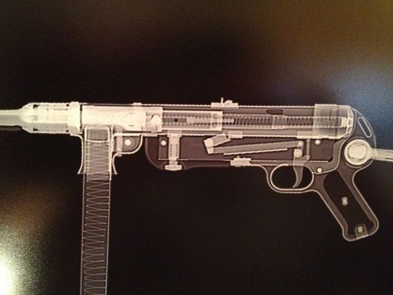 HK MP40 submachinegun CAT scan gun print ready to frame