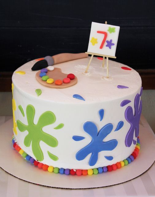 Admirable Rainbow Art Birthday Party Ideas With Images Art Party Cakes Funny Birthday Cards Online Bapapcheapnameinfo