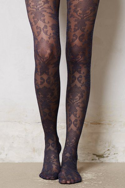 Anthropologie Blue Sapphire Paisley Tights