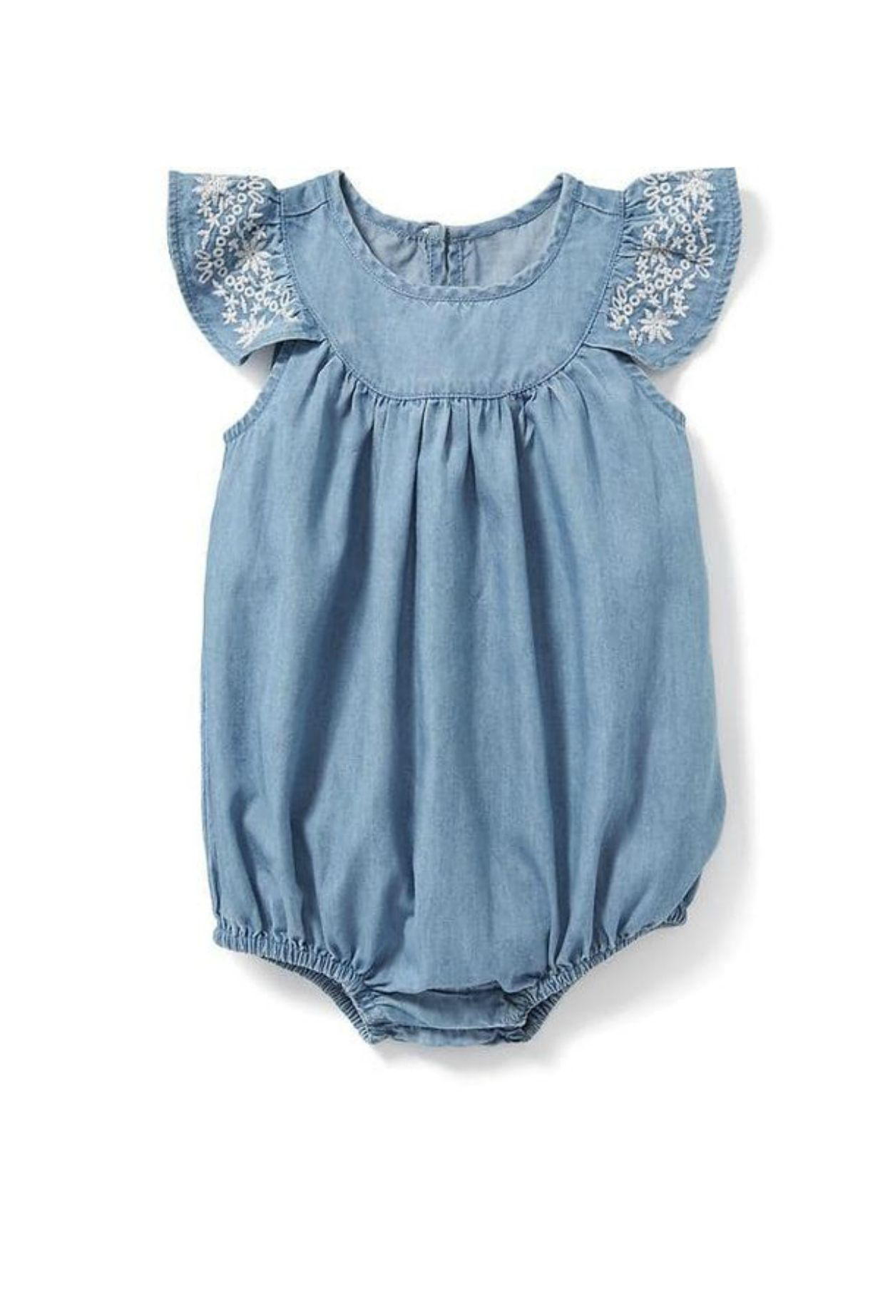 Embroidered Chambray Romper Old Navy