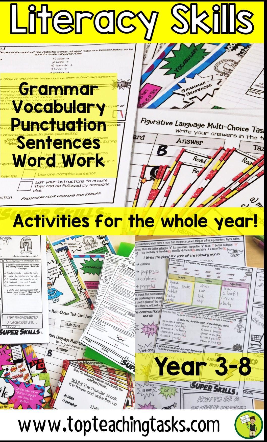 Writing And Literacy Skills Bundle Year 3 And 4 Year 5