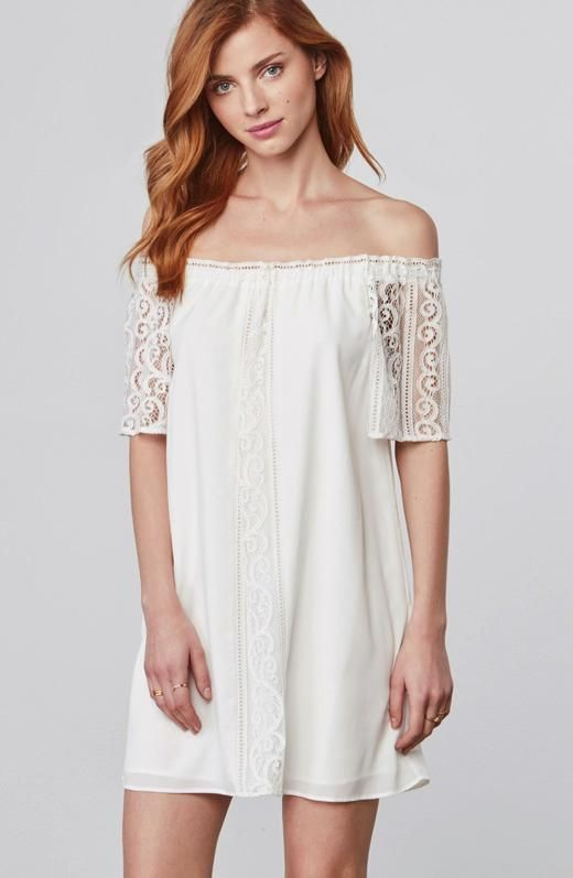a6c6388a846 BB Dakota Cece Ivory Lace Off The Shoulder Dress