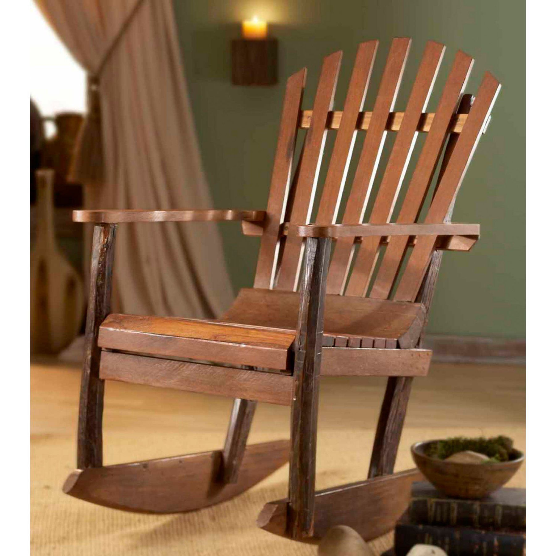 Outdoor Groovystuff Teak Wood Adirondack Rocking Chair
