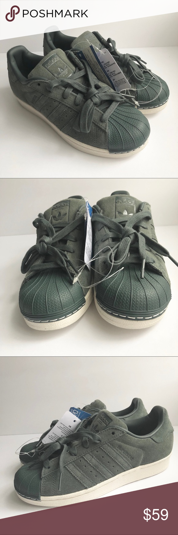 a3964b8837b Adidas Gray Green Suede Superstar Sneakers NWT W6 These are a great grayish- green color