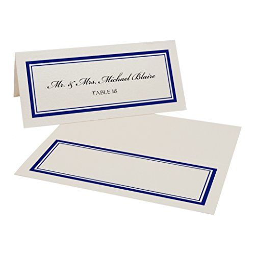 Double Line Border Place Cards, Champagne, Navy, Set of 2…