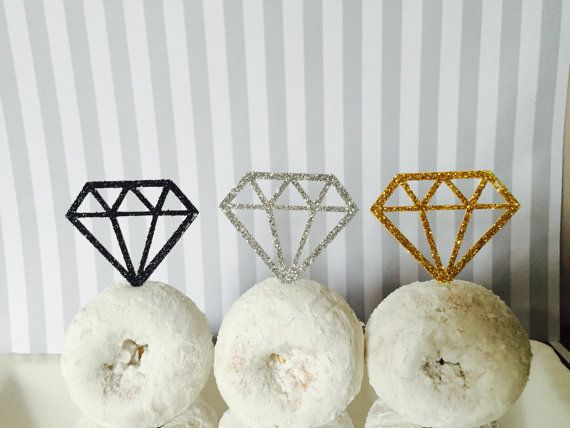 donut toppers, diamond donut topper,Bridal Shower Decor,bachelorette decor,wedding decor,party decor,birthday decor,diamond cupcake topper