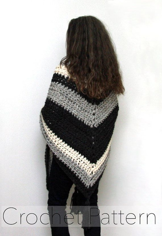 Crochet Pattern Oversized Wrap Chunky Triangle Shawl Super Scarf