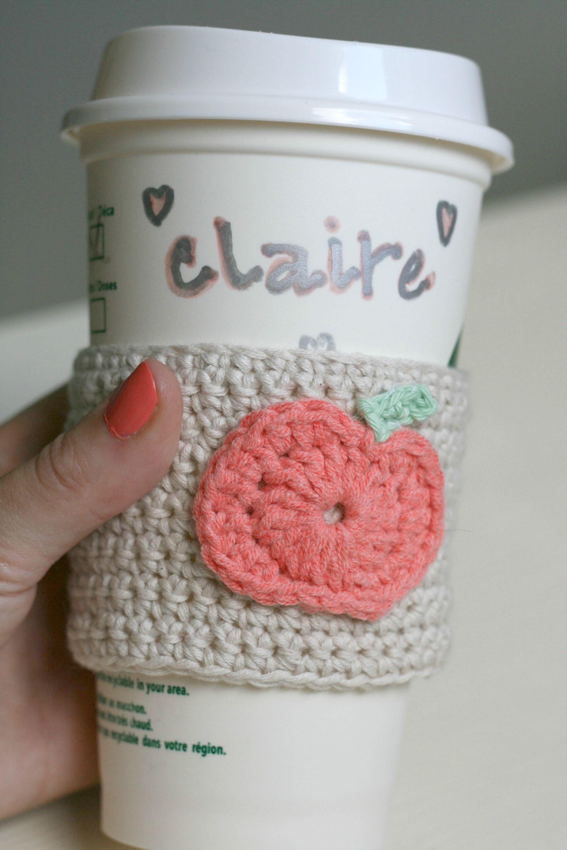 DIY Crochet Pumpkin Coffee Cup Sleeve -