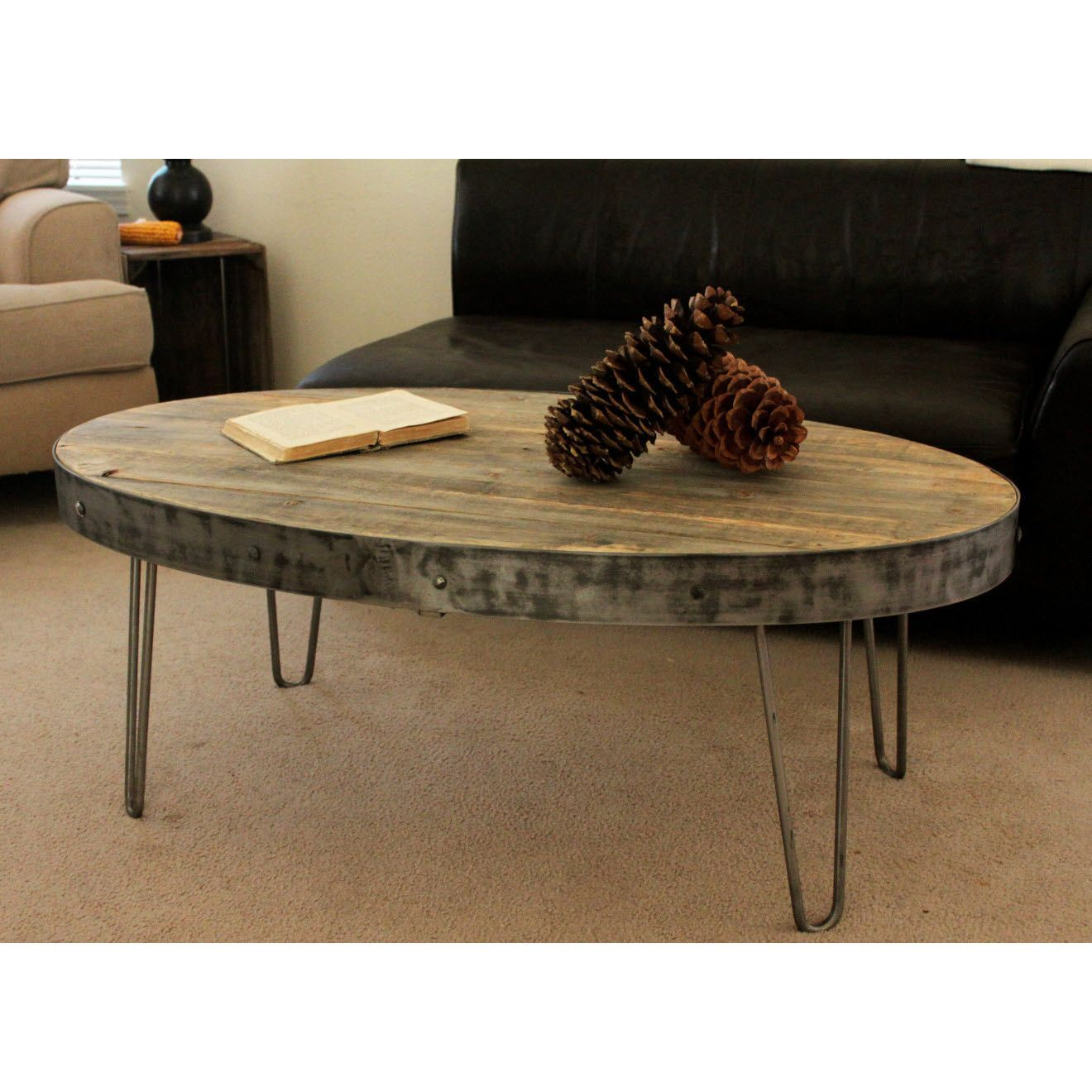 Reclaimed Wood Industrial Round Coffee Table: Reclaimed Wood Oval Industrial Coffee Table