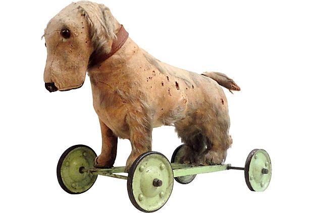 19th-C. Stuffed Dog on Wheels