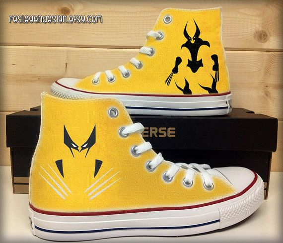 online store 2369b 28260 The Wolverine Custom Converse   Painted Shoes by FeslegenDesign,  65.00