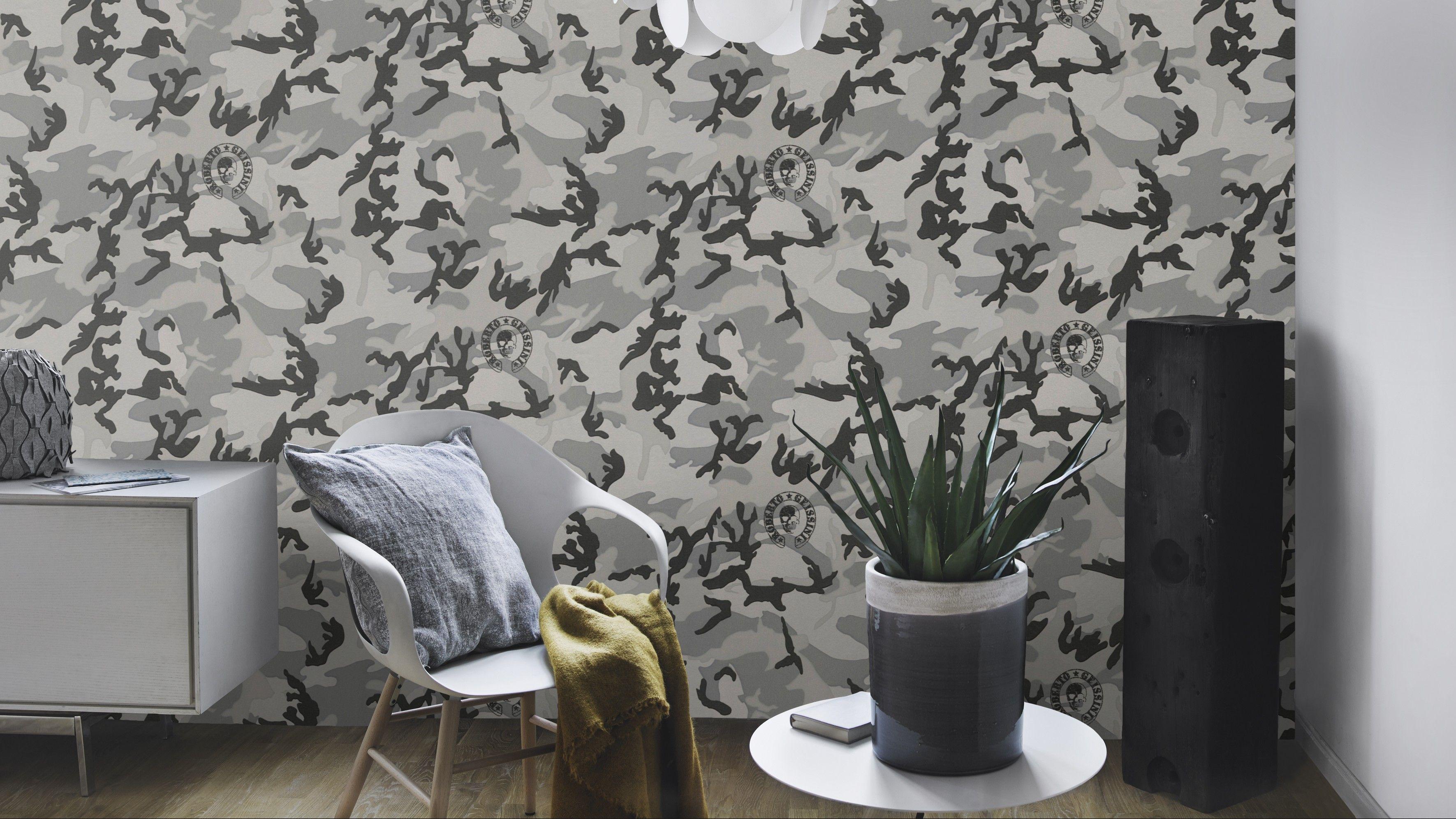 camouflage- tapete, robert geissen, a.s. creation | die geissens
