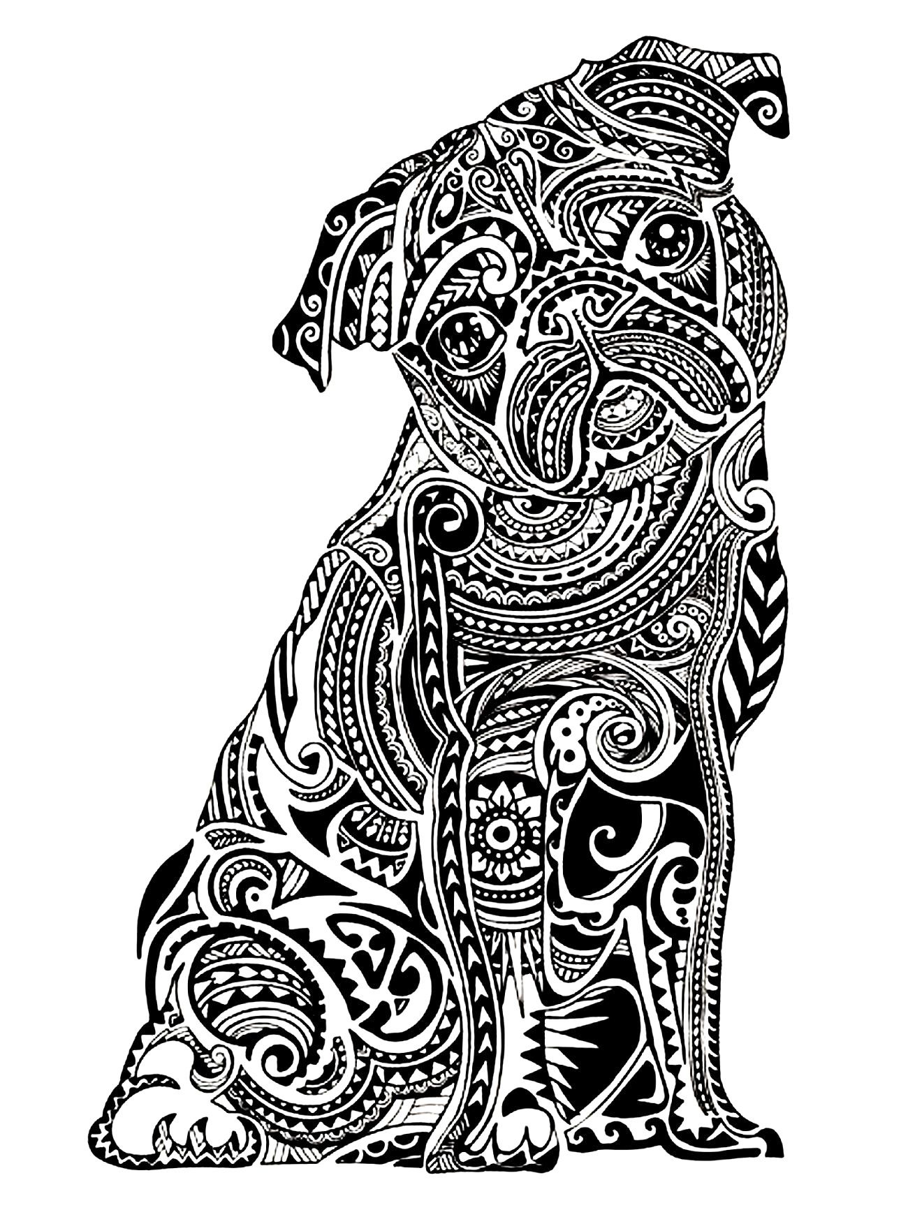 Complicated Animal Coloring Pages Download For Adults Difficult Animals Of Pug Art Print Pug Art Dog Coloring Page