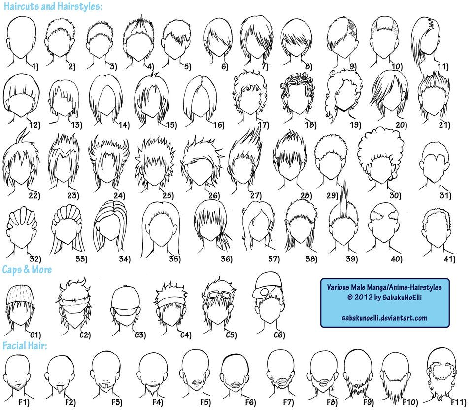 Various Male Anime Manga Hairstyles By Elythe On Deviantart Manga Hair Chibi Hair Anime Hairstyles Male